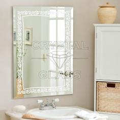 Зеркало с фацетом и матовым рисунком
