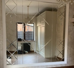 Фацетное панно зеркало серебро